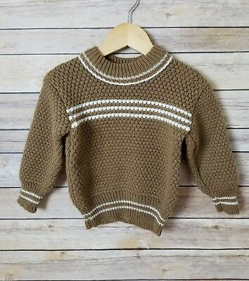 VTG Baby Boy Bubble Knit Knitted Striped Long Sleeve Pullover Sweater 23 Months