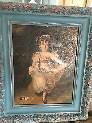 VINTAGE FRAMED CANVAS PRINT OF GEORGIAN PAINTING- Miss Murray By Sir T Lawrence
