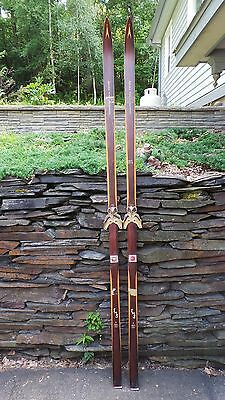 "ANTIQUE Wooden 83"" Long HICKORY Skis + Bindings Signed ASNES"