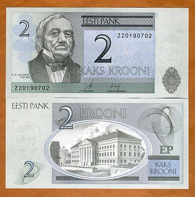 Estonia, 2 Krooni, 2007, P-85b, Ex-USSR, UNC > ZZ REPLACEMENT