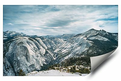 Snow Capped Mountain Skyline Yosemite Cali HD Vinyl Removable Wall Art Decal