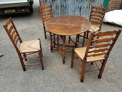 Titchmarsh&Goodwin?? Oak Ladderback Dining Chairs,Rush Seats and drop leaf table