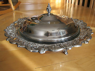Silverplated Marlboro Plate Footed Casserole Serving Dish