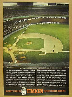 1963 District of Columbia DC RFK Stadium photo Timken Bearings vintage print Ad