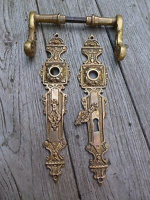 Vintage / antique beautiful brass door handle with brass covers project 07-01
