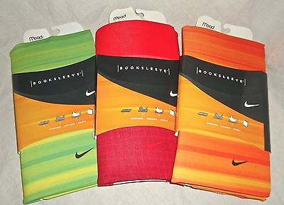 Lot of 3 Mead Nike Stretchable Booksleeve Book Covers. Orange Red Green