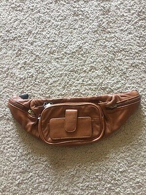 Brand New Leather Travel Tan Fanny Pack Bag Rt $75