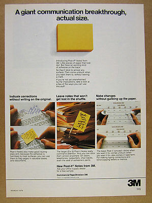 1979 3M Post-it Notes 'Introducing' vintage print Ad