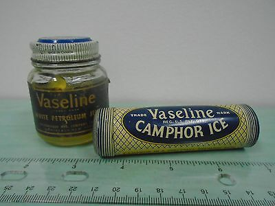 Vintage Vaseline White Petroleum Jelly Lubricant Glass Jar Camphor Tube