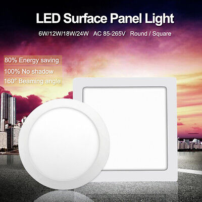 Cool/Warm White LED Surface Panel Light Ultra-slim Ceiling Lamp 6/12/18/24W 5E6