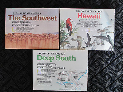 LOT OF 3 Vintage National Geographic Maps Hawaii Deep South Southwest 27.25x20.5
