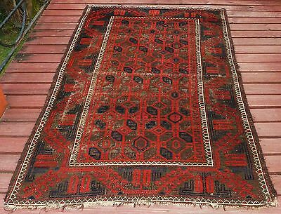 GORGEOUS RARE ANTIQUE TRIBAL BALUCH PILE RUG Circa 1880 TURKESTAN