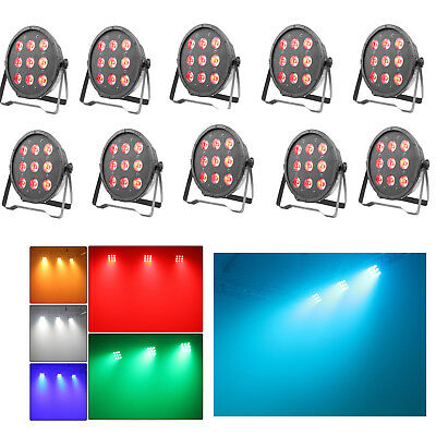 LED Par Wedding Up Lighting RGBW DJ DMX Color Mixing Wash Stage Lights 10 Pack