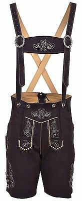 Oktoberfest Bavarian LEDERHOSEN Synthetic Leather with Matching Suspenders Short