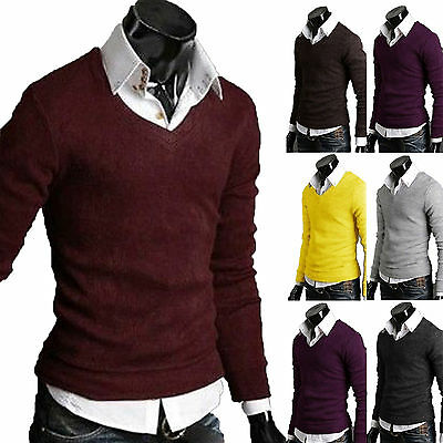 Mens Plain V Neck Jumper Sweater Sweatshirt Knitwear Pullover Shirts Casual Top