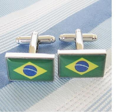 Cuff links Brazil Flag Brazil Flag,Cufflinks 1 Pair Gift Box,New