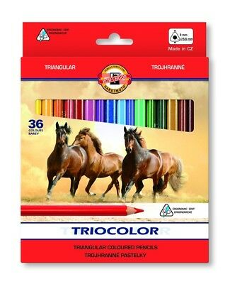 KOH-I-NOOR TRIOCOLOR COLOURED PENCILS - Pack of 36 Assorted Colour Pencils
