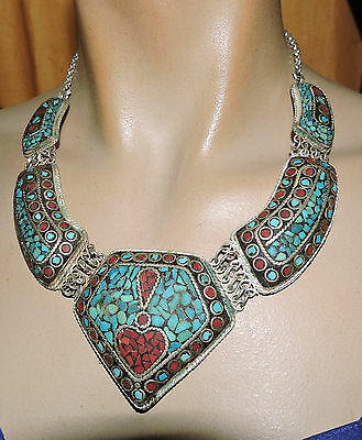 5 section raised turq coral inlay necklace great necklace that is puffy round