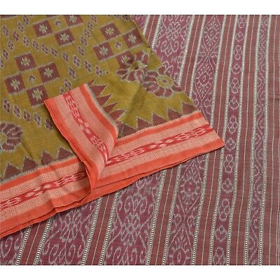 Sanskriti Vintage Indian Saree Woven Patola Sari Fabric Pure Silk Soft Brown