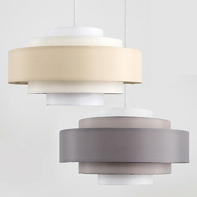 Modern 5 Tiered Fabric Easy Fit Ceiling Pendant Light Shades Lampshade LED Bulb