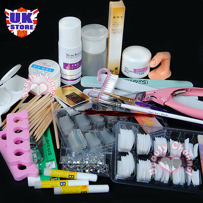 Xmas Gift  Acrylic Powder Glitter Nail Art Brush Cleanser Tool UV Gel Set Kit
