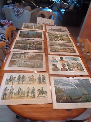 Antique German Instructional Educational Card Set of 15 lithograph Print