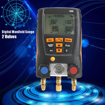 549 Digital Manifold Gauge System Meter 2 Valves Refrigeration HVAC 0560 0550
