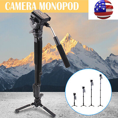 Pro Monopod + Fluid Pan Head Ball + DV Unipod for Canon Nikon DSLR Camera USA