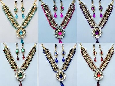 Indian Designer Bollywood Wedding Gold Bridal Kundan Necklace Costume Jewelry