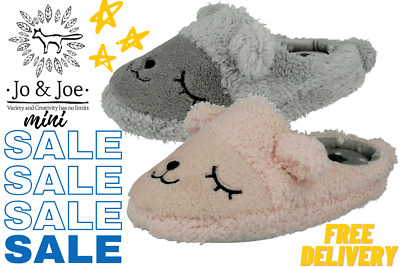 Girls Jo & Joe Mini Infant Fleece Novelty Animal Warm Plush Slip On Mule Slipper