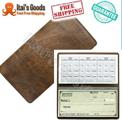 Basic Brown Vinyl Checkbook Cover Duplicate Flap For Top Tear Personal Checks