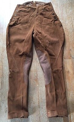 Vtg 1920s Jodhpurs Equestrian Riding Pants With Leather . Excellent Condition!