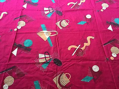 Vtg Art Deco style Pink Fabric by Cranston Print Works. 1 Yd 60x44