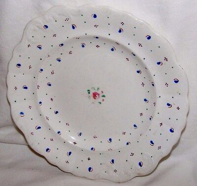 Antique Welsh?hand Painted Blue & Pink Lustre Plate