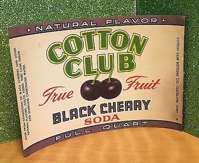 Vintage Cotton Club Black Cherry Soda Labels NEW Unused Cleveland Ohio