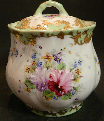 """Vintage Hand Painted Limoges France Swirl Floral Biscuit Jar 6.5"""" x 5.25"""" Excell"""