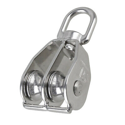 Heavy Duty Steel Double Wheel Swivel Lifting Eye Rope Pulley Block M15-M100