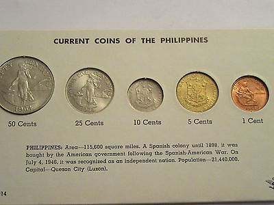 """current"" coins of the Philippines, 1964 5 coin set, carded"