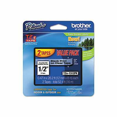 """2-PACK - Genuine Brother TZe-1312PK - 12mm 1/2"""" Black on Clear  P-Touch TZ tape"""