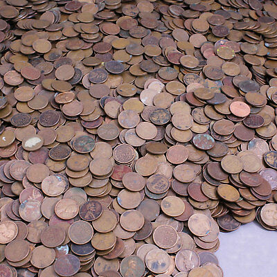 1940-1958 Lincoln Wheat Cent Lot of 500 Coins Rough Condition Cheap