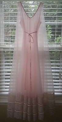 Vtg Pink INTIME Double Layer Sheer Chiffon Nightgown Gown Negligee SIZE ALL