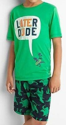 Gap Kids Boys Graphic Short PJ Set Parrot Green Color Size 4