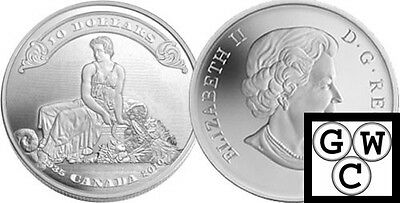 2010 Proof $10 75th Anniversary of First Bankote .9999 Fine Silver Coin(12676)NT