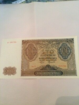 Two 1941 Poland 100 Zlotych Notes In Nice Circulated Condition
