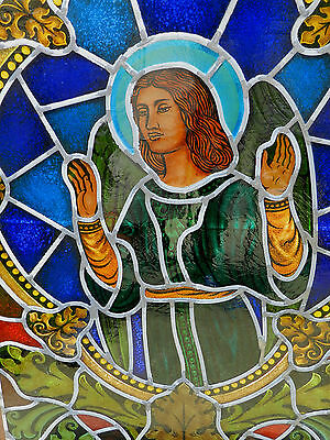 Antique Gothic Revival Angel Stained Glass Window Painting Blessing Chapel Size