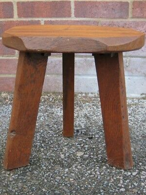 Antique Arts & Crafts country style rustic solid elm 3 legged tripod foot stool