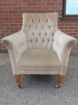 Regency antique beech framed buttonback upholstered library reading armchair