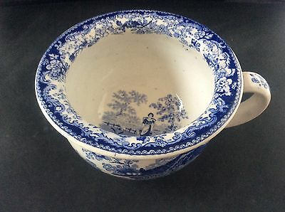 Rare Antique Early c19th Blue & White Transfer Ware Child's Chamber Pot Milkmaid
