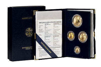 1988 Gold American Eagle Proof 4-Coin Set - Gem Proof In OGP SKU18177