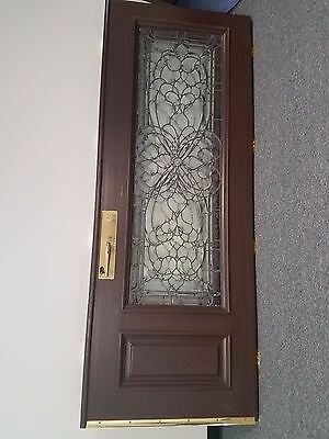 Set of Brown and Gold Decoratvie Front Door with Glass Windows